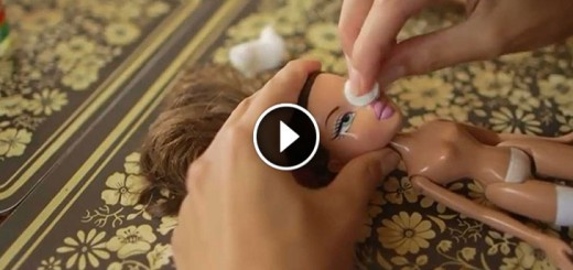 Takes Off A Doll's Face With Nail Polish Remover