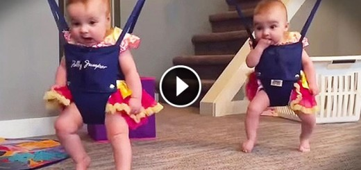twin babies jumper dance