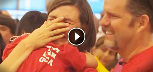 family picks up adopted daughter