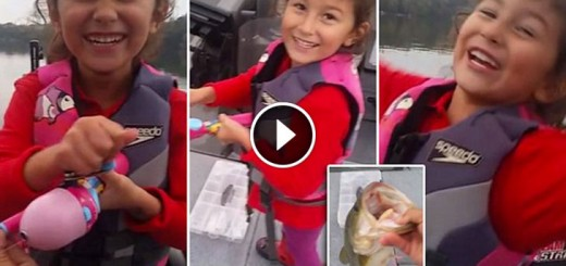 little girl catches huge fish barbie-rod