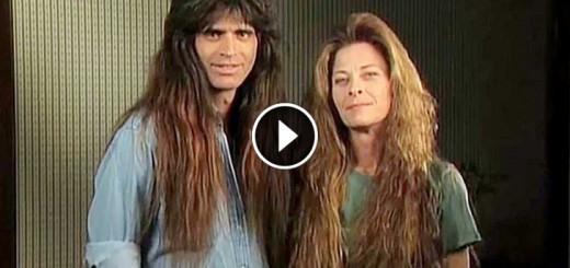 rock couple cut long hair